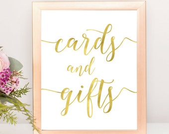 Gold Cards and Gifts Sign | DIY PRINTABLE Instant Download | Wedding Ceremony Reception Sign | Gold Foil Calligraphy | Suite | WS1