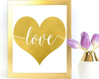 Gold Love Heart Sign | Instant Download | Printable Wedding Ceremony Reception Sign | Gold Foil Calligraphy | Suite | WS1