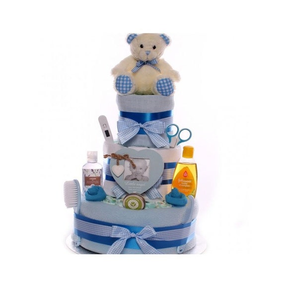 Teddy Nappy Cake Baby Boy, nappy cakes, 3 tier nappy cake, baby boy nappy cake, nappy cake gift, nappy cake with teddy bear, baby gift