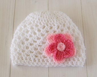 Baby hat, Baby girls hat, Hat. Crochet baby hat, White hat, White & pink hat, Baby shower gift, Baby flower hat, Photo prop, Ready to ship.