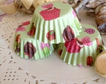 40 green baking cups cupcake designed