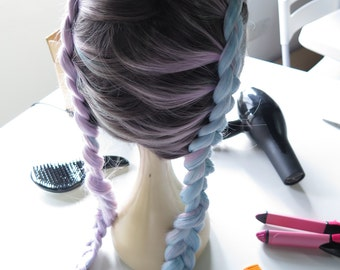Hand Braided Styled Blue Light Purple Pastel Ombre Lace Front Synthetic Hair Wig