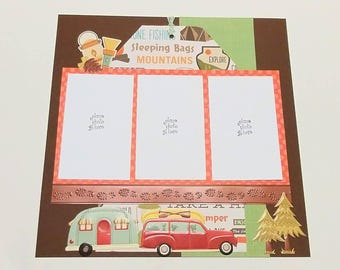 """2-Page 12x12 Premade Scrapbook Layout - """"Campground"""""""