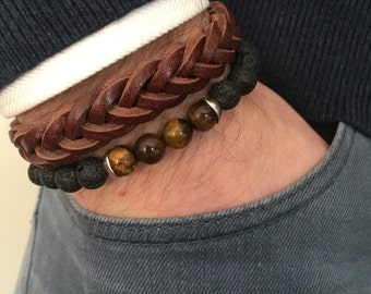Leather bracelet in combination with beads bracelet with lava bracelet with Tiger eye