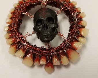 "Momento Mori, macabre, human teeth, skull, ""The Wheel"""