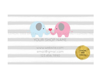 Premade business card, elephant business card, boutique business card, vistaprint, children, baby boutique business card