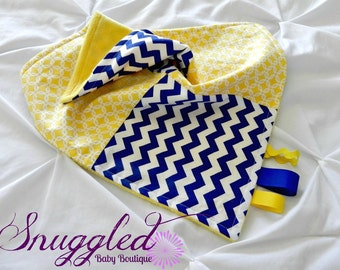 Blue and Yellow Lovey, Security Blanket with Ribbon Loops