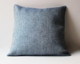 Navy Blue Herringbone Linen Pillow Cover, Linen  Pillow Covers 20x20, 18x18, 16x16, 24x24, Linen Pillow cases, Blue Linen Pillow case