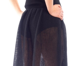 Black knitted mohair transparent skirt