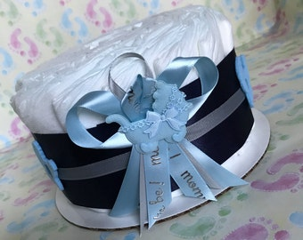 Boy and girl diaper cake