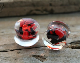 Glass, Red, Clear and Black Plugs