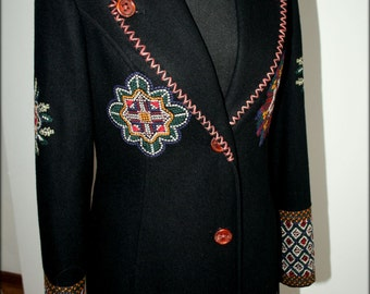 Vintage coat, wool coat embroidered,black coat