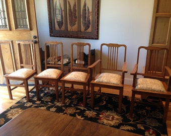 Five mid-century teak dining chairs