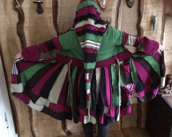 Colorfull upcycled sweatercoat, Katwise inspired