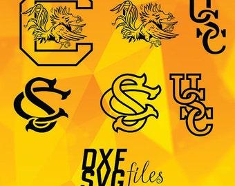 South Carolina Gamecocks logos in SVG / Eps / Dxf / Jpg files INSTANT DOWNLOAD!