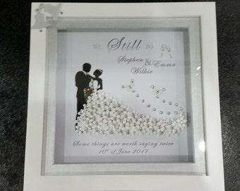 Wedding/anniversary personalised embellished  3d frame