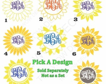 Sunflower - 2 Color Vinyl Monogram Decal, Yeti cup, SIC Cup, RTIC Cup, Ozark Cup, Car Window, Computers, Etc....