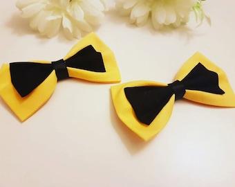 Yellow and black hair bow, Bow headband, hair accessories, nylon headband, baby headband, Hair clips, Girls hair clips,