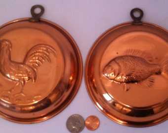 Lot of 2 Vintage Ccpper Hanging Molds, Kitchen Decor, Kitchen Decoration, Fish, Chicken, Hen, Rooster, Country Life, Quality Kitchen Decor