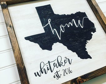 Wooden sign- Texas, home, state love