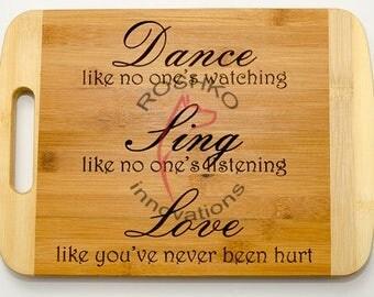 Designer cutting board personalized kitchen tool gift wedding housewarming chief retirement dance sing love no one watching laser