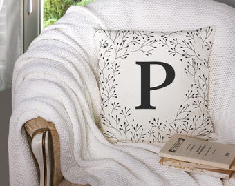 18 x 18 Personalized Initial Pillow Cover
