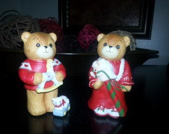 1984 Enesco Christmas Bears ~ set of 2