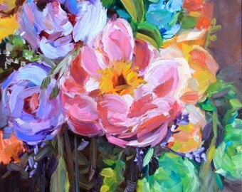 BLOOMS, Original Oil Painting on Canvas Framed, 11 x 14 Inches, by Merrill Weber, Still Life Painting, Floral Flower Flowers Painting