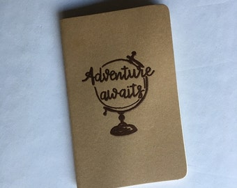 Adventure Awaits | Custom Journal | Embossed Journal | Travel Journal | Globe | Hand Lettered