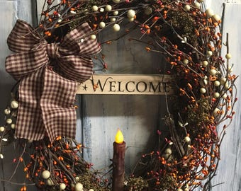 18 inch oval primitive country grapevine berry wreath