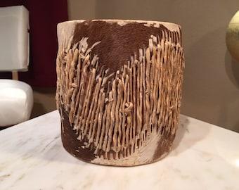 Vintage Animal Skin Stool Drum, African Tribal Music, Native American, Goat, Cowhide,