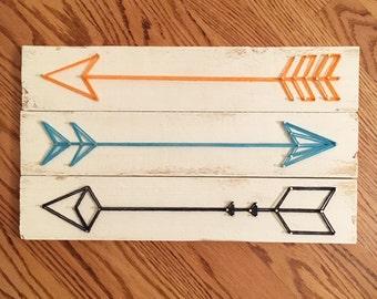 Arrows Wall Art, String Art, Set of 3 Arrows, Blue and Orange