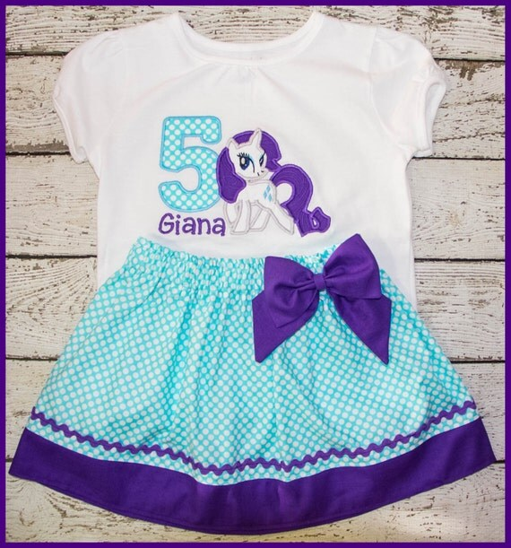 My Little Pony Rarity Birthday Skirt outfit Name and age included