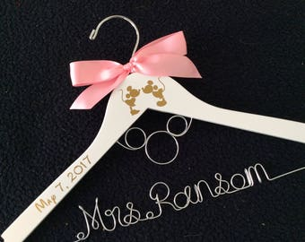 Mickey Mouse Hanger, Disney hanger, Disney Wedding Hanger, Disney themed wedding, Bridesmaid Hangr, wedding shower gift