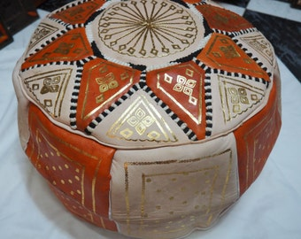 Moroccan leather pouf || Orange pouf || Orange and gold hand painted pouf - Unfilled