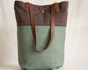 Shoulder bag with leather handles, shopper, Tote, bag, green, Brown