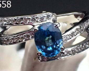 Art Deco GENUINE Blue Topaz Gemstone Twin Entwined Sterling Silver Ring #5558