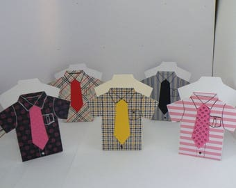 Shirt boxes with toffees or chocolate eclairs inside - various designs