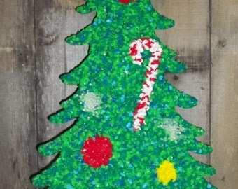 Vintage Melted Plastic Popcorn Plaque Wall Decoration Christmas Tree