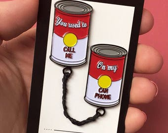 SECONDS Soup Can Phones Enamel Pins (w/ flaws)