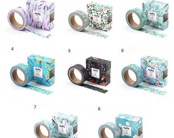 Retro Style Chinese Floral Washi Masking Paper Tape - Choice Of 8 Designs