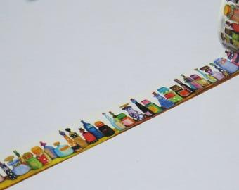 Colourful Bottles Design Washi Tape / Gift Wrap, Scrapbooking, Masking