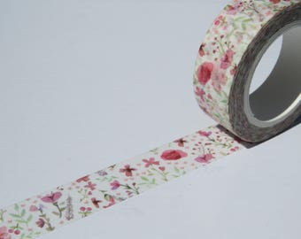 Spring Pink Floral Washi Masking Paper Decorative Tape.