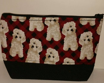 Puppies on Plaid Make-up Bag, Fluffy Puppies on Red Plaid, Puppy Makeup Bag, Plaid Make-up Bag, Dog Makeup Bag