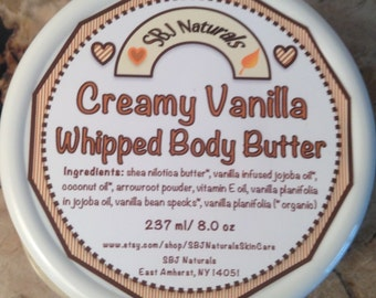 Skin: Creamy Vanilla Whipped Body Butter - Lg 8 oz // gift for her