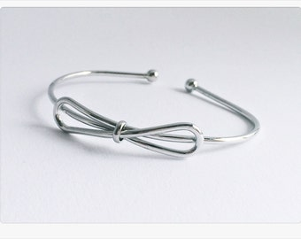 Bracelet loop SILVER, bracelet filigree, adjustable bracelet with loop in silver, bow bracelet