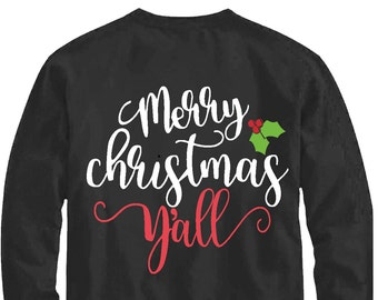 Merry Christmas y'all svg, It's Christmas y'all svg, Christmas svg, SVG, DXF, EPS, Christmas svg, yall svg, cut file, southern Christmas svg