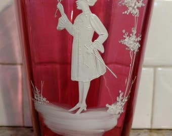 Victorian Mary Gregory Cranberry Hand Enameled art Glass Vase 7.25""