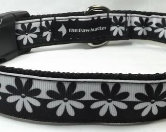 Black and White Flower Dog Collar - Flower Dog Collar FREE Shipping