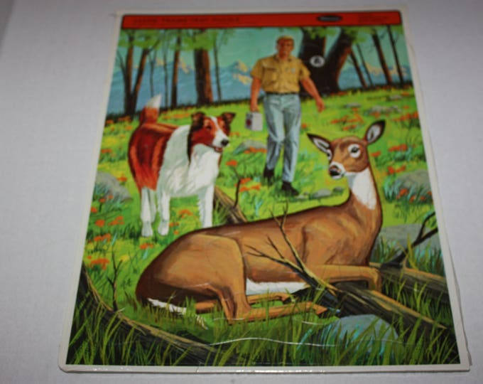 Vintage Whitman 1968 LASSIE TV Show Finds Deer Frame Tray Puzzle Sealed RARE